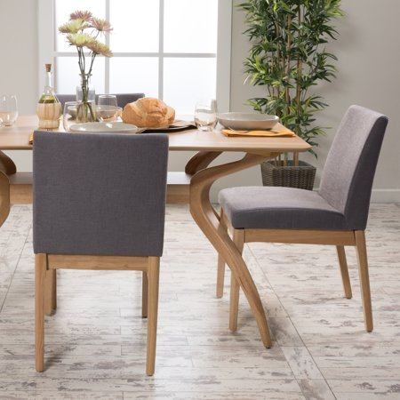 Noble House Caruso Dark Grey Fabric Oak Dining Chair (Set of 2) ()