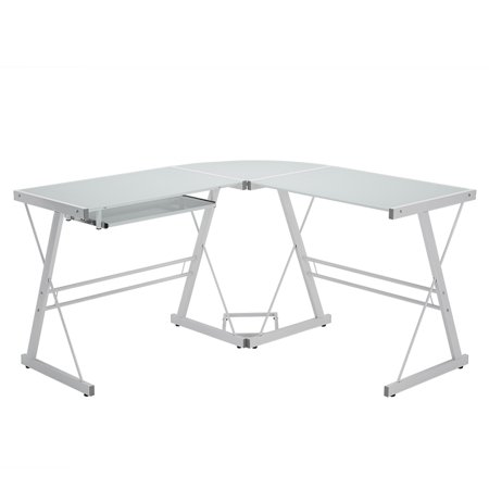 Walker Edison Glass and Metal L-Shaped Computer Desk - White ()