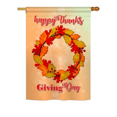 Wreath Decorative Flag - Thanksgiving Day Wreath Fall - Seasonal Impressions Decorative Vertical House Flag - Printed in USA