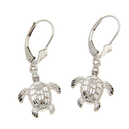 14K white gold sparkly diamond cut Hawaiian 12mm sea turtle leverback earrings - Indian Turtle Diamond Cut