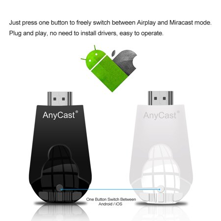 AnyCast K4-1 Wireless WiFi Display Dongle Receiver 1080P HD TV Stick  Miracast Airplay DLNA Mirroring Black for Android iOS Smart Phone Tablet PC  to