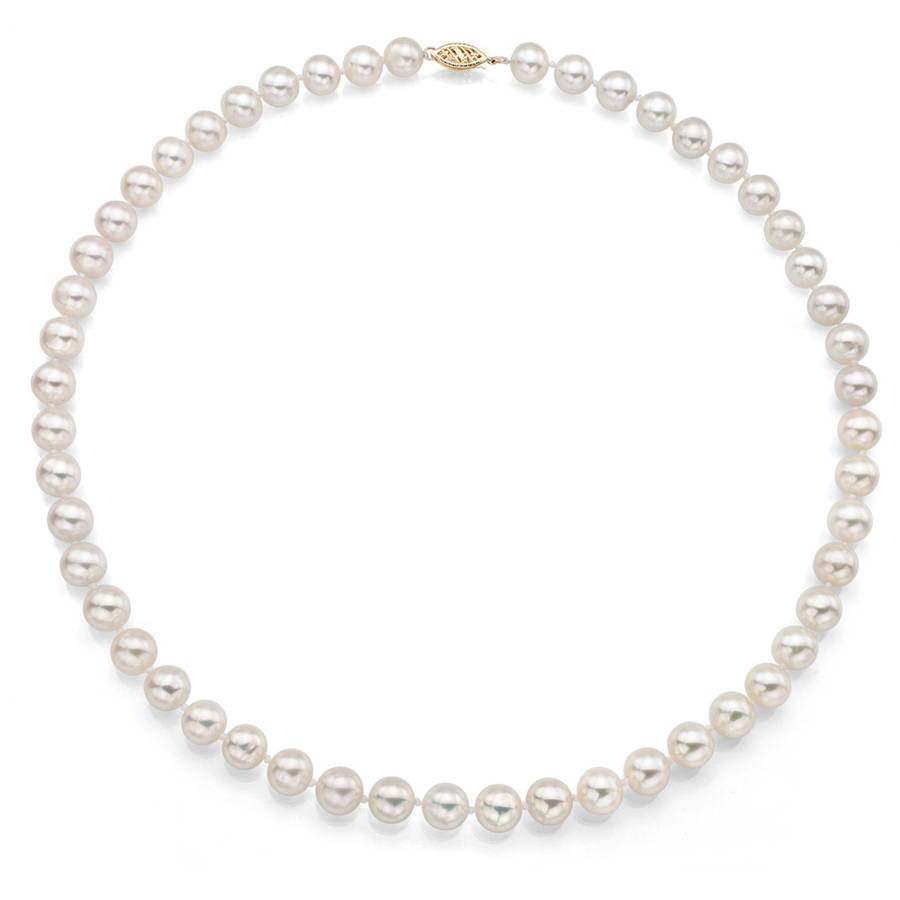 """7-7.5mm White Perfect Round Akoya Pearl 30"""" Necklace with 14kt Yellow Gold Clasp by ADDURN"""