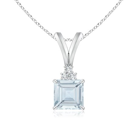 Mother's Day Jewelry - V-Bale Square Aquamarine Solitaire Pendant with Diamond in 14K White Gold (5mm Aquamarine) - SP0153AQ_N-WG-A-5 Diamond 14k Square Pendant