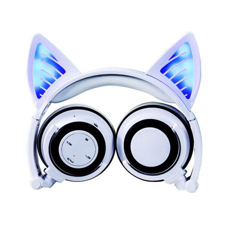TechComm K10 Cat Ear Bluetooth LED Headphones Music Hands-Free Calls