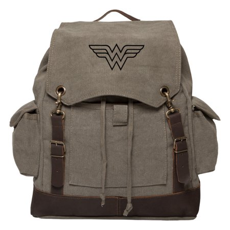 Wonder Woman Symbol Vintage Canvas Rucksack Backpack with Leather