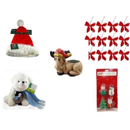 Christmas Fun Gift Bundle [5 Piece] - Trim A Home Deluxe Santa Hat Adult Medium - Set of 12 Red Velvet White Trim Wire Bows - Creation House Co., LTD Sad  Moose Planter - Bearington White  Bear &