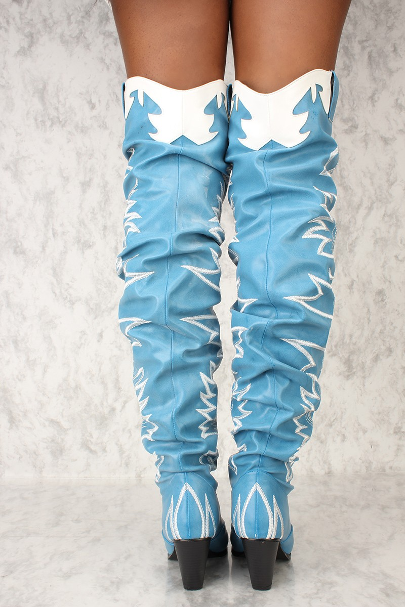 Cape Robbin Kelsey-21 BLUE STITCH ROCK STAR WESTERN POINTED OVER KNEE THIGH BOOT