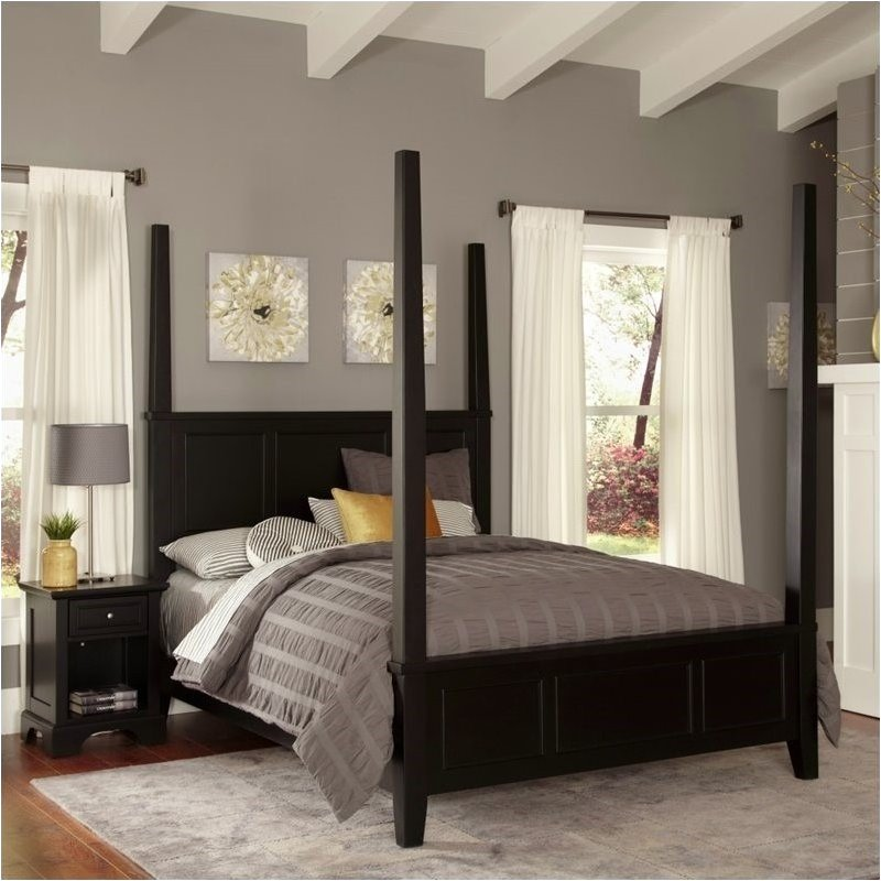 Bowery Hill King Poster Bed and Nightstand in Black by Bowery Hill