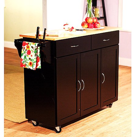 Extra Large Kitchen Cart Black With Wood Top Walmartcom