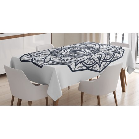 Occult Decor Tablecloth  Ornamental Eye With Ethnic Mandala Form Providence Energy In Action Design  Rectangular Table Cover For Dining Room Kitchen  60 X 90 Inches  Black White  By Ambesonne