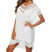Fysho Women Summer Swimsuit Beach Bikini Cover Up Loose Plus size Crochet Cover ups