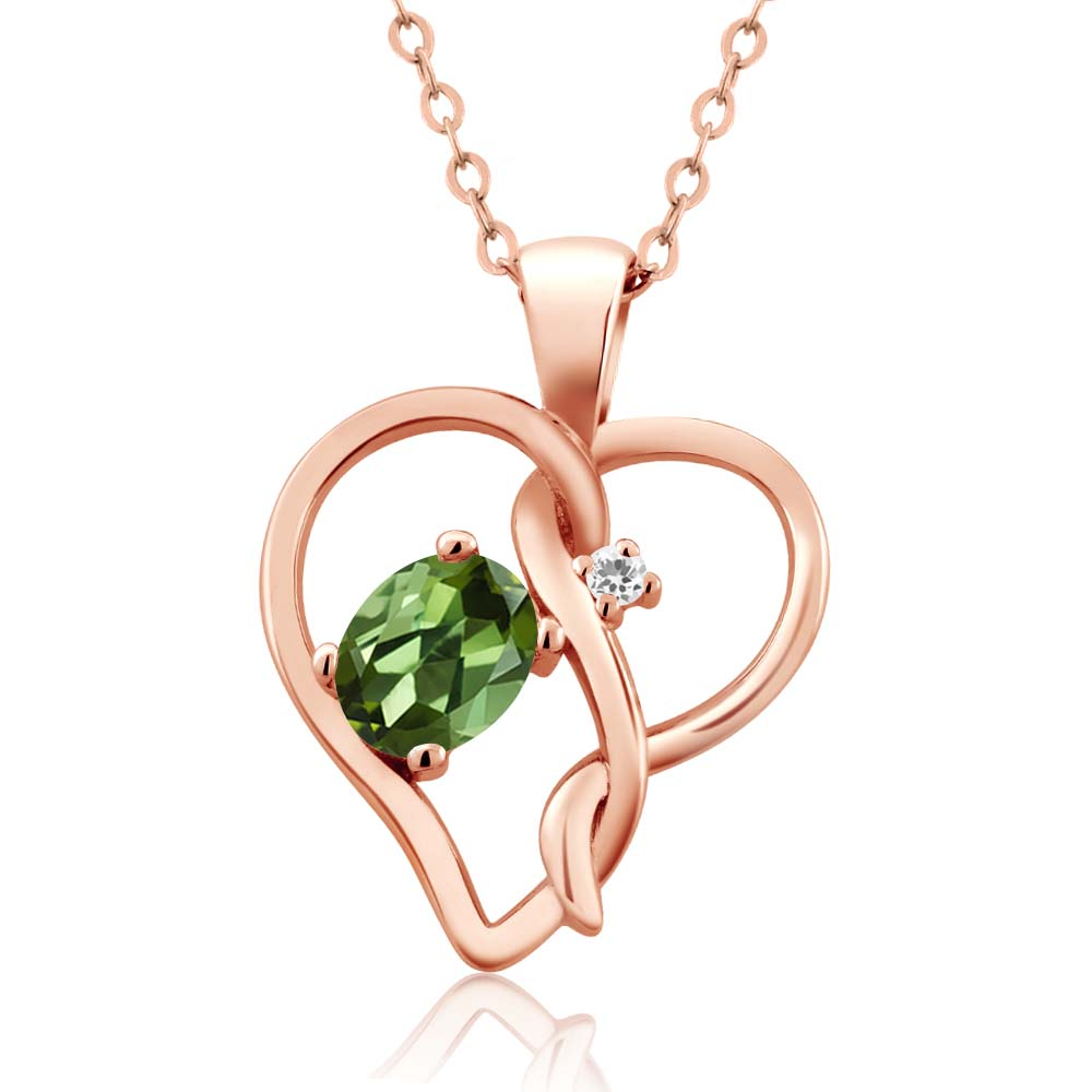 0.51 Ct Oval Green Tourmaline White Sapphire 18K Rose Gold Pendant by