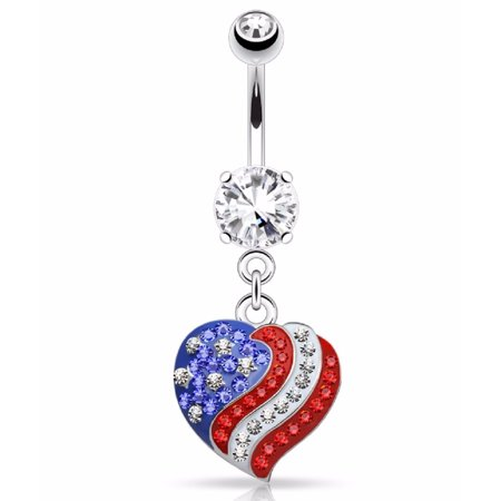 Body Accentz Belly Button Ring  Paved American Flag Heart Dangle