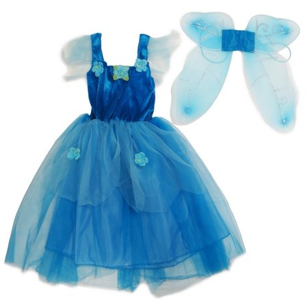 Pinkie Girl (Girls Blue Pixie Fairy Dress Wings)