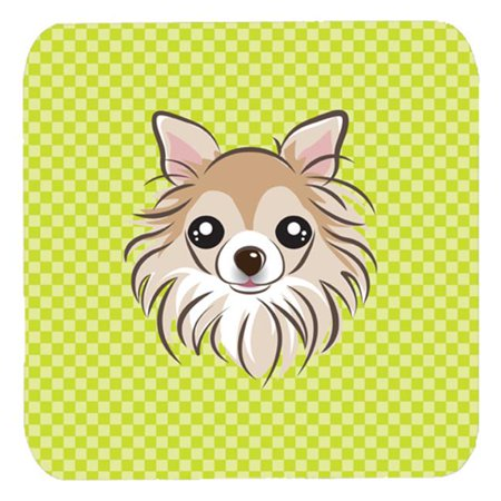 3.5 x 3.5 In. Checkerboard Lime Green Chihuahua Foam Coasters, Set Of 4 - image 1 de 1