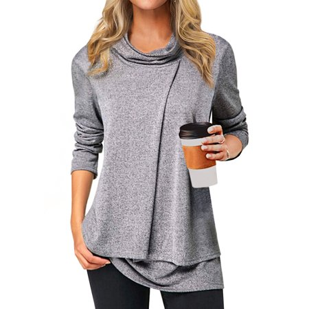 STARVNC Women Cowl Neck Double Layer Hem Cashmere Long Sleeve Solid Tops