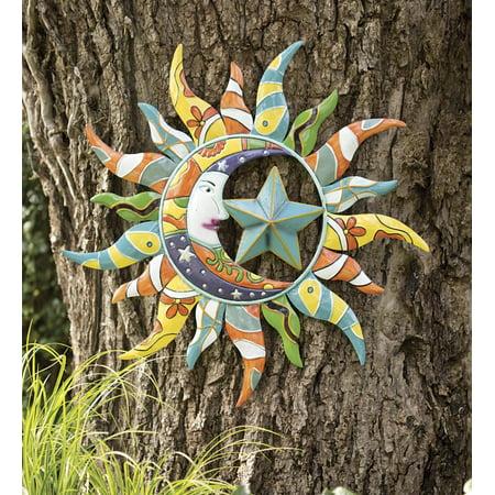 Colorful Metal Talavera Sun Moon And Star Indoor Outdoor Wall Art