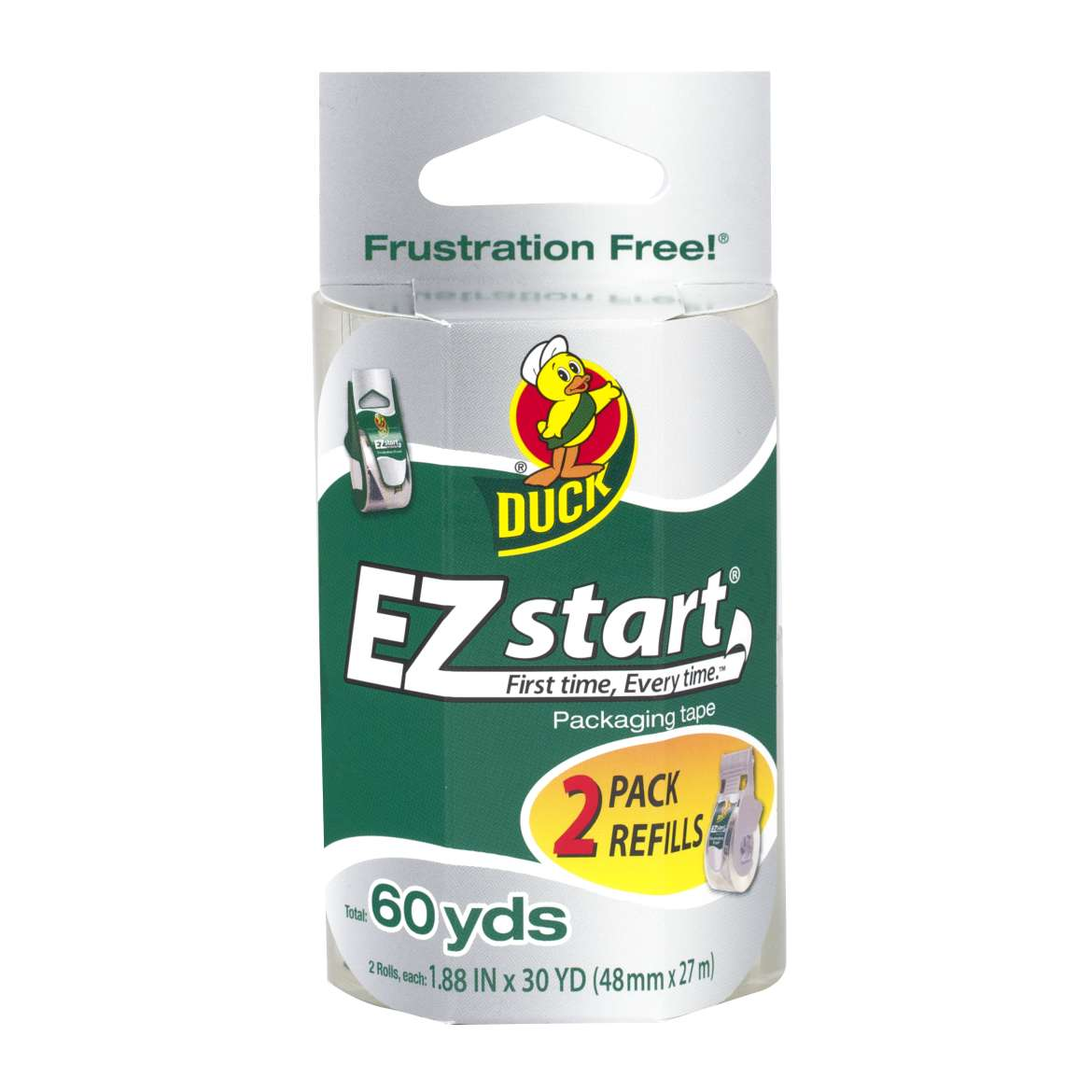 Duck EZ Start Packaging Tape Refill, 1.88 in. x 30 yd., Clear, 2-Count