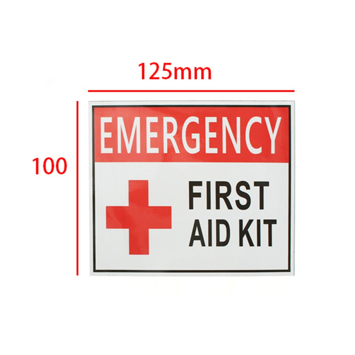 4 Size EMERGENCY FIRST AID KIT Vinyl Sticker Label Signs Red Cross Health Safety Home Living School Outdoor MATCC US,100*125mm color