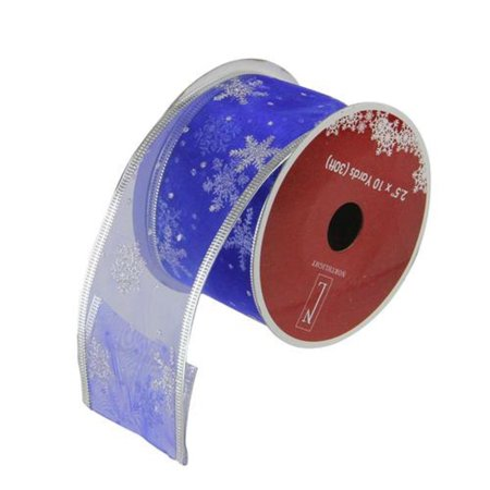 Royal Blue and Silver Glitter Snowflakes Wired Christmas Craft Ribbon 2.5