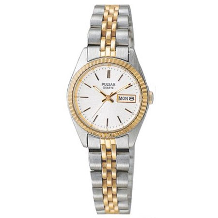 Ladies Day/Date Watch Stainless Gold-Tone Case Bracelet - White Face (Watches Women Pulsera)