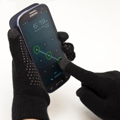 Fosmon Unisex Winter Gloves with Three Conductive Fingertips for All Touchscreen Devices - Black/Black