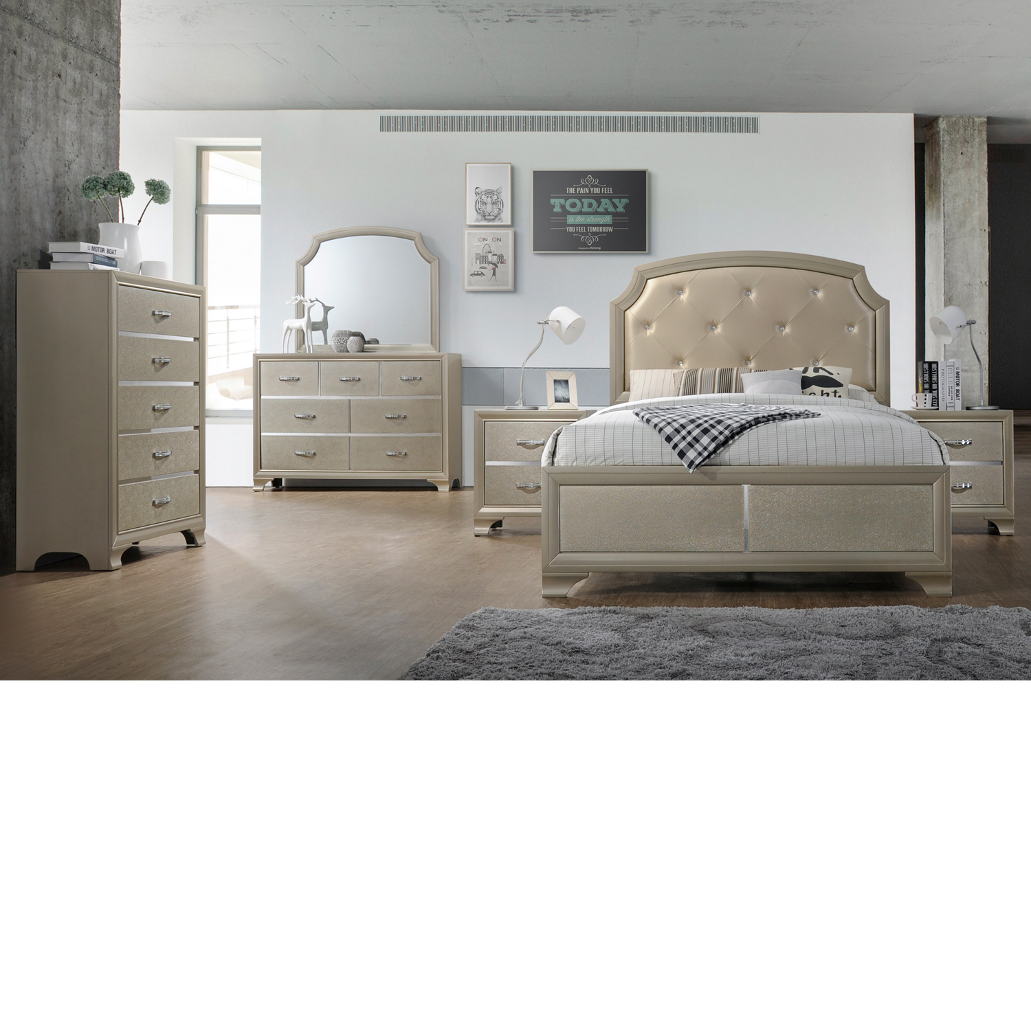 Home Source King Bed/Dresser/Mirror/Night stand
