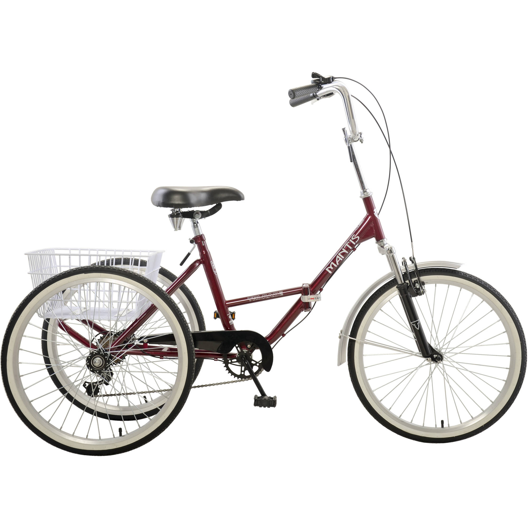 "Mantis Tri-Rad 6-Speed Adult Folding Tricycle, 24"" Wheels, Burgundy"
