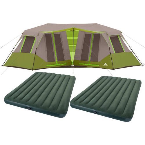 Ozark Trail 8 Person Instant Double Villa Cabin Tent with 2 Queen Prestige Downy Airbeds Value Bundle