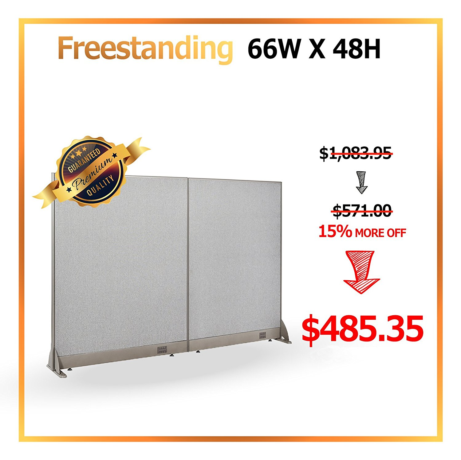[Deember Promotion Christmas Special] GOF Office Freestanding Partition Room divider Wall divider Wall panel Office Wall (66 X 48)