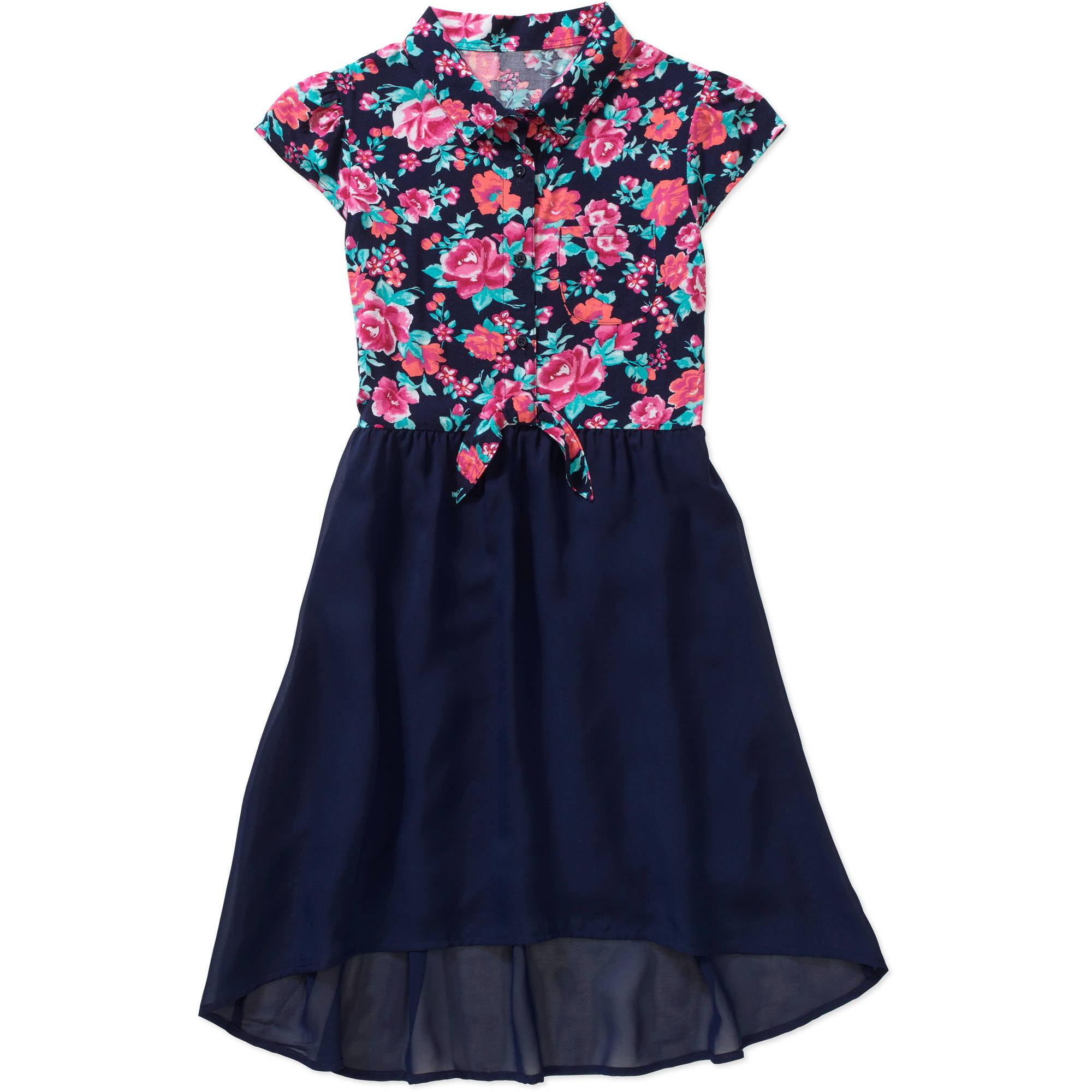 faded glory girls hi lo shirt dress walmartcom