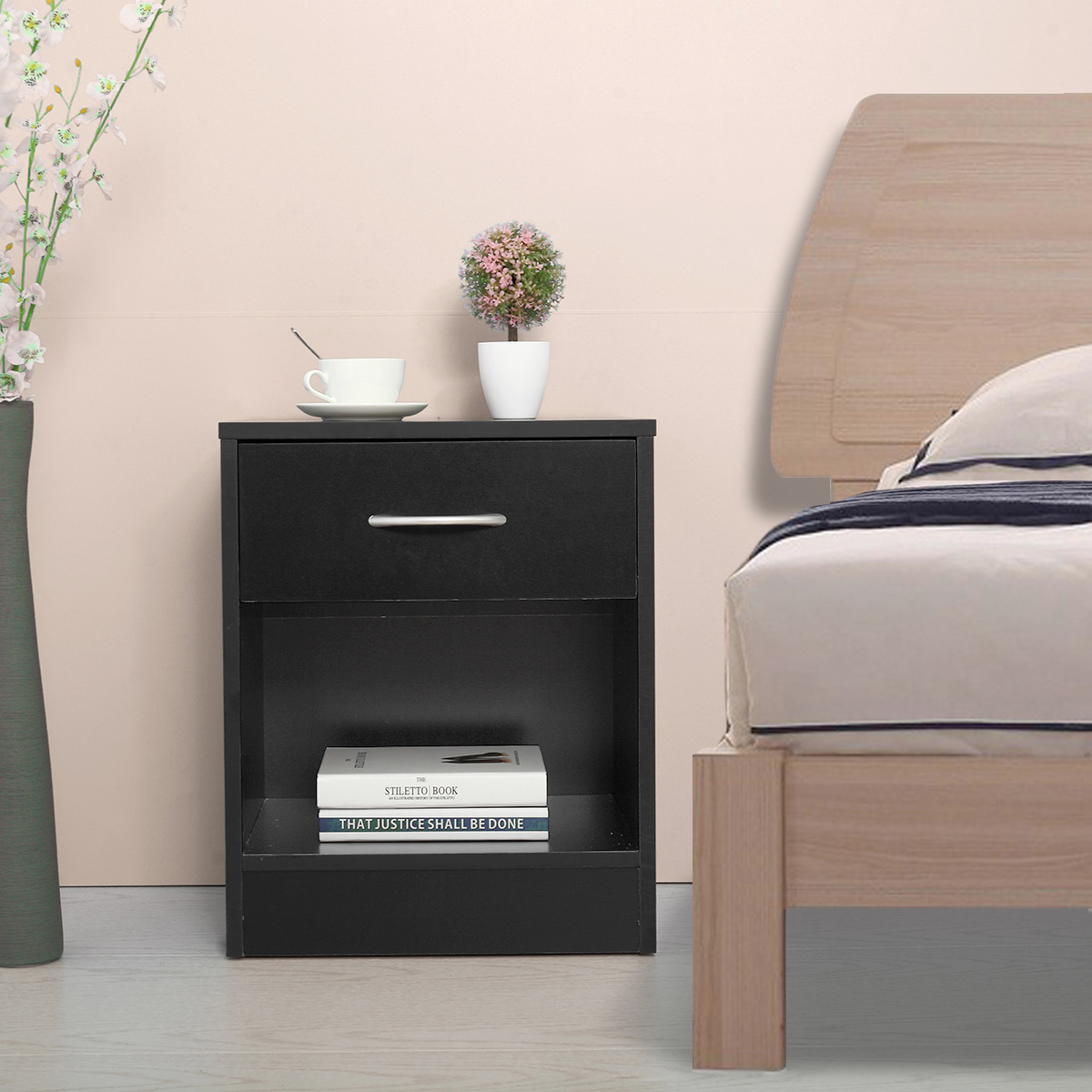 Jaxpety Black Nightstand 2 Layer Bedside End Table Bedroom Organizer Furniture
