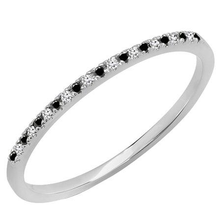 0.08 Carat (ctw) 10k White Gold Round Black And White Diamond Ladies Dainty Wedding Band Stackab (Black Gold And White Wedding)