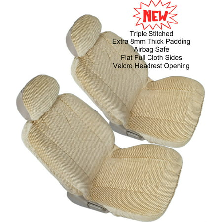 4pc Front 2 US Automotive Grade Bucket Beige Tan Universal Fit 8mm Thick Premium Triple Stitched Seat (Tan Bucket Seat Cover)