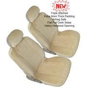 Front 2 US Automotive Grade 4pc Bucket Beige Tan Semi Custom Fit 10mm Thick Premium Triple Stitched Seat Cover