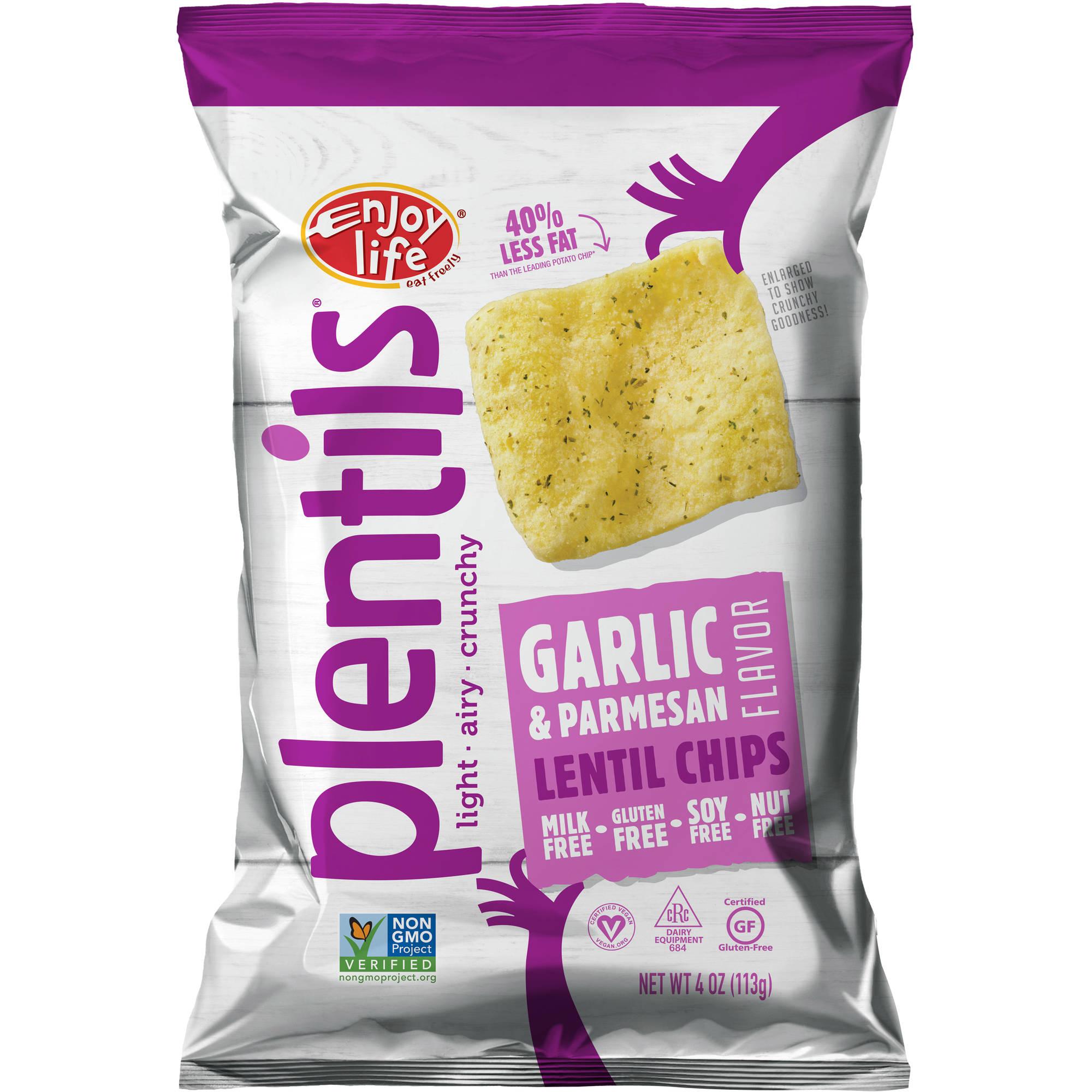 Enjoy Life Plentils Garlic & Parmesan Pizza Lentil Chips, 4 oz, (Pack of 12)