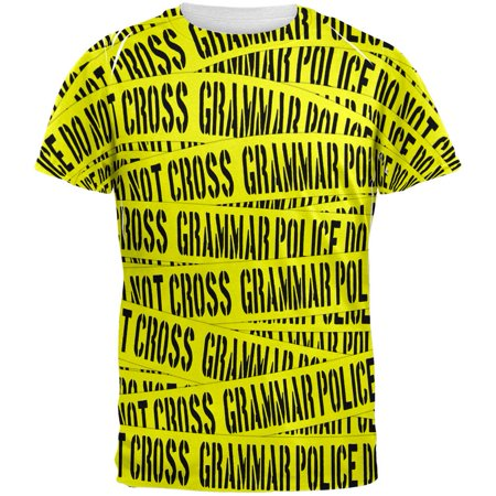 Grammar Police Caution Tape Funny All Over Adult T-Shirt - Police Caution Tape