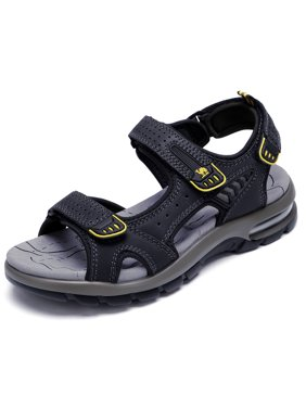 CAMEL Men's Genuine Leather Sandals with Air Cushion Sport Casual Straps for Outdoor Hiking Walking Beach