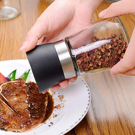 GLiving 1pcs Premium Salt and Pepper Grinder - Refillable Coarseness Adjustable Stainless Steel Salt and Pepper Mill Shakers Refillable Salt and Pepper