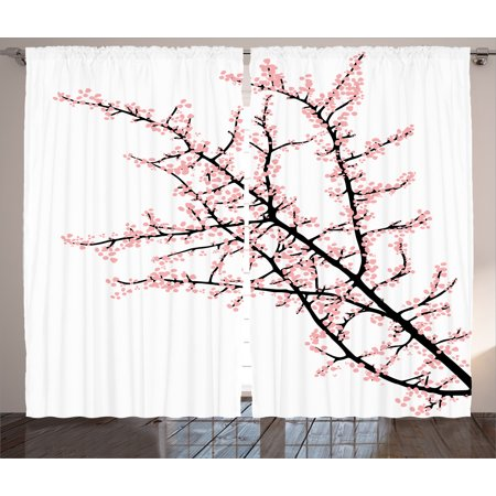 Flower Curtains 2 Panels Set Cherry Branch With Pink Blossom Traditional Style Illustration Asia Culture