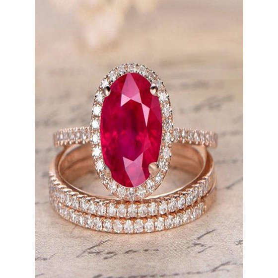 Diamond Rings For Sale Walmart: Limited Time Sale: 2 Carat Red Ruby (oval Cut