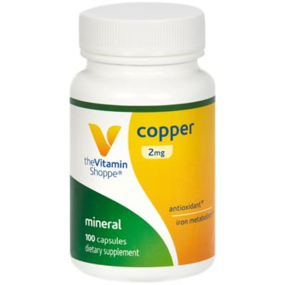 The Vitamin Shoppe Copper 2MG (Copper Gluconate), Antioxidant for Iron Metabolism, Once Daily Essential Mineral Supplement (100