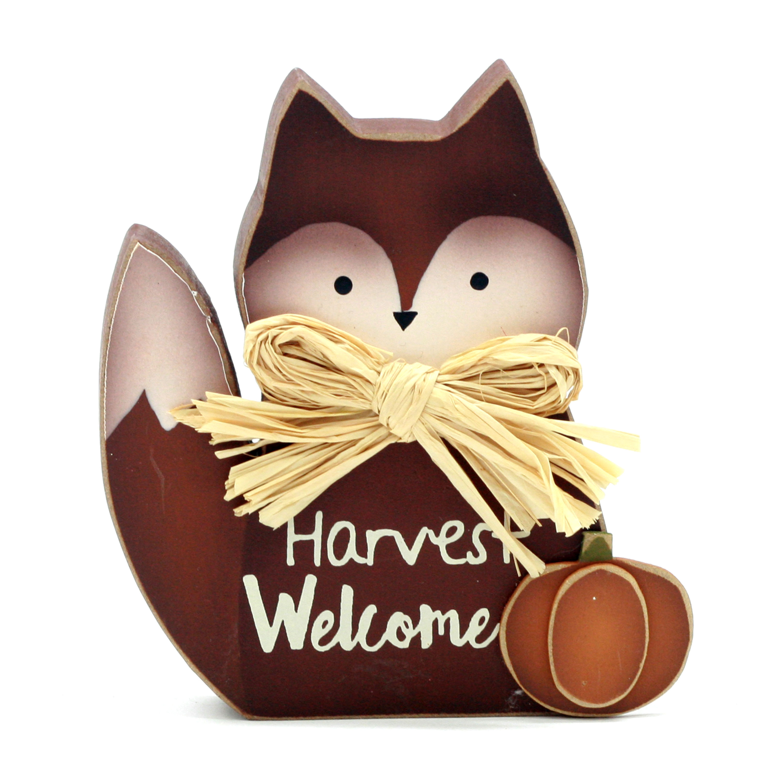 "Harvest 6-inch Fox Style And With Word ""Harvest Welcome"" Wooden Decor"