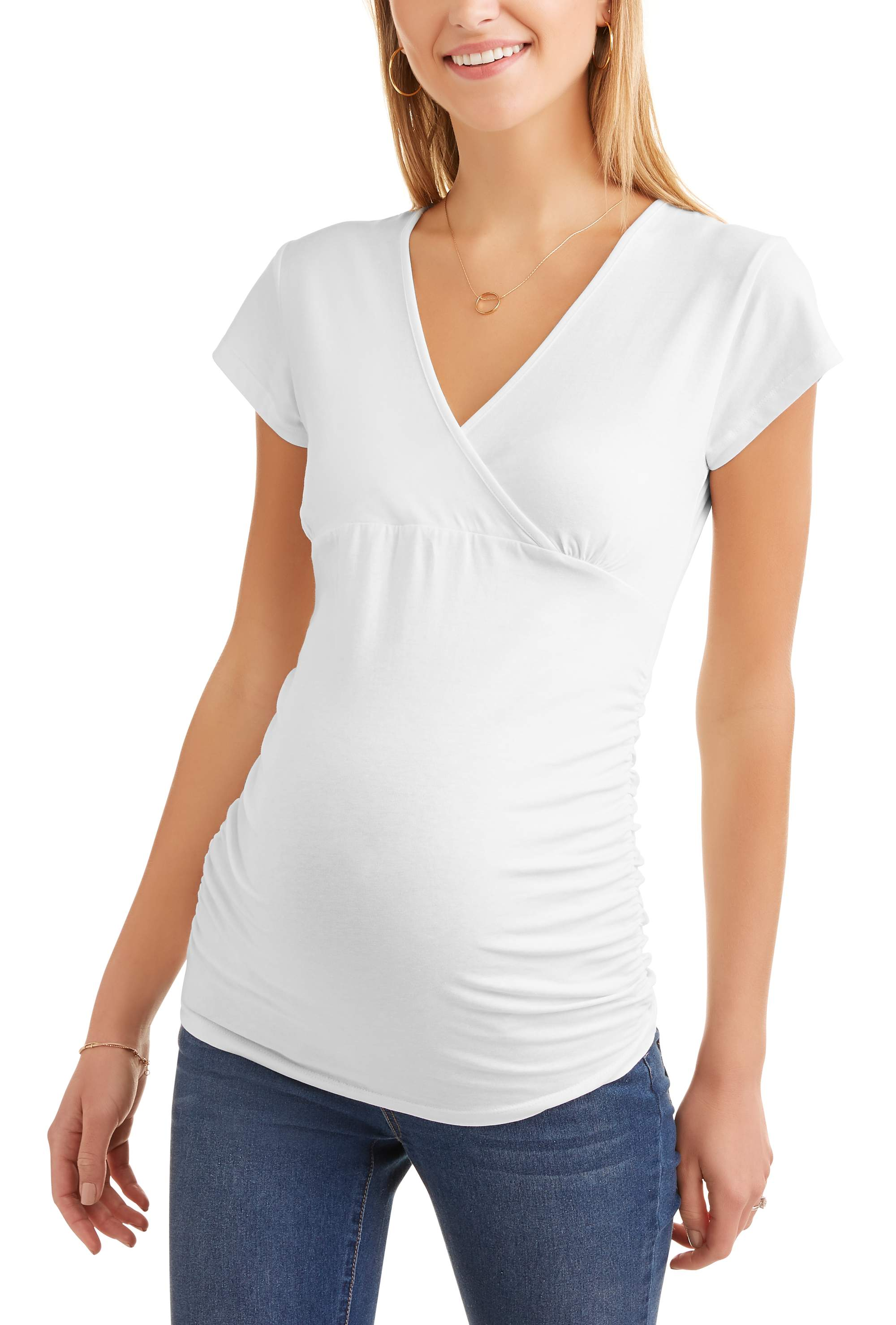 Maternity cap sleeves empire waist top-- Available In Plus Sizes