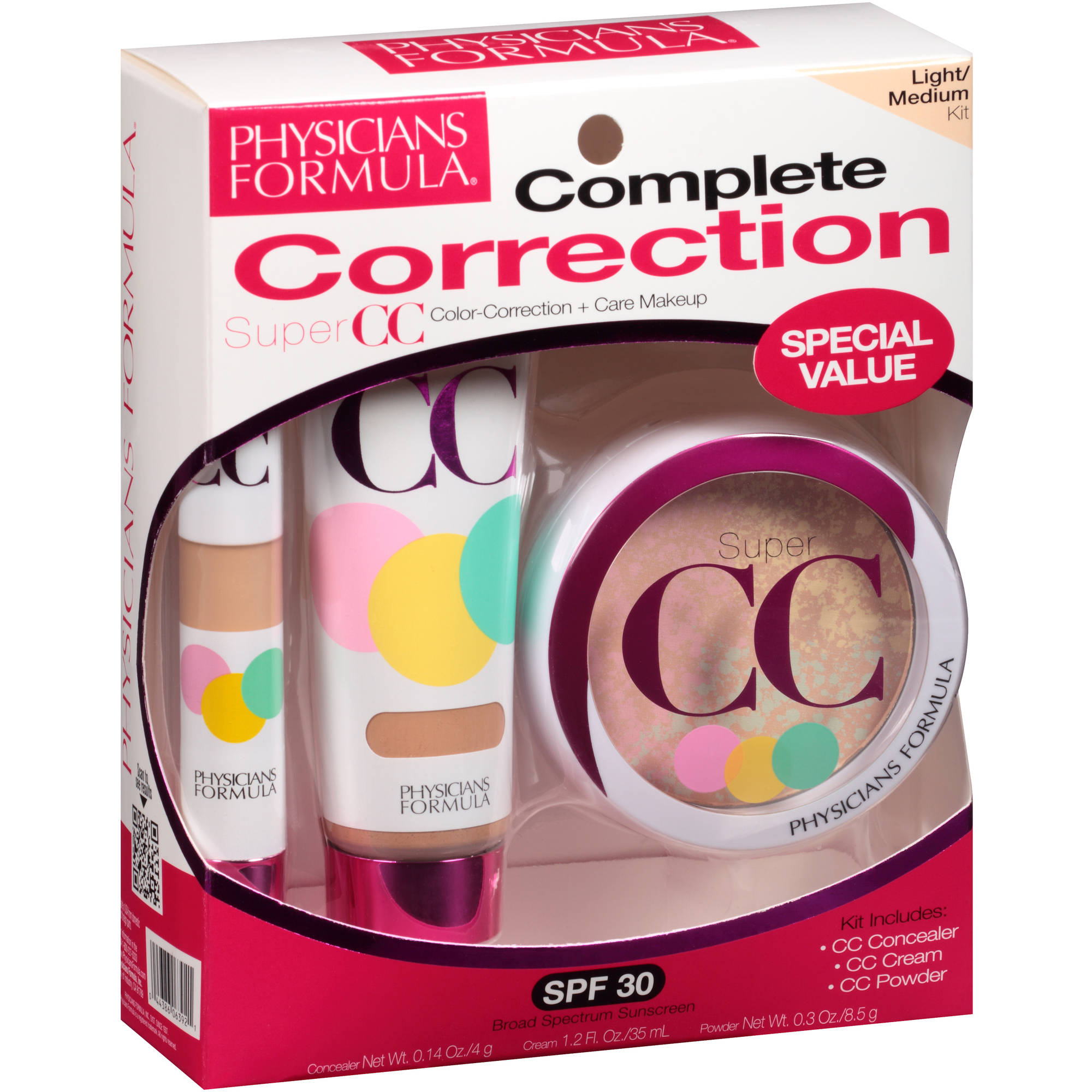 Physicians Formula Complete Correction Super CC Color-Correction + Care Makeup Kit, Light/Medium, 3 pc
