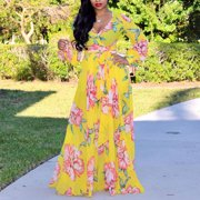 Senfloco Womens Summer Floral Vintage Boho Long Sleeve Maxi Dress with Belt Holiday Evening Party Cocktail Porm