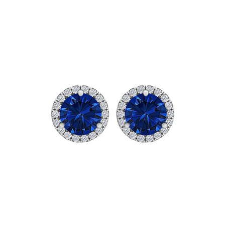 Sapphire CZ Round Halo Stud Earrings Push Back Silver - image 6 of 6