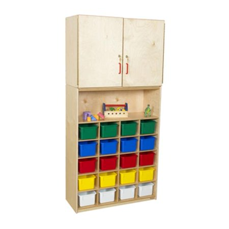20 Tray Cabinet - Wood Designs 56203AP Vertical Storage Cabinet With 20 Assorted Pastel Trays