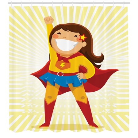 Superhero Shower Curtain Courageous Little Girl With A Big Smile In Costume Standing