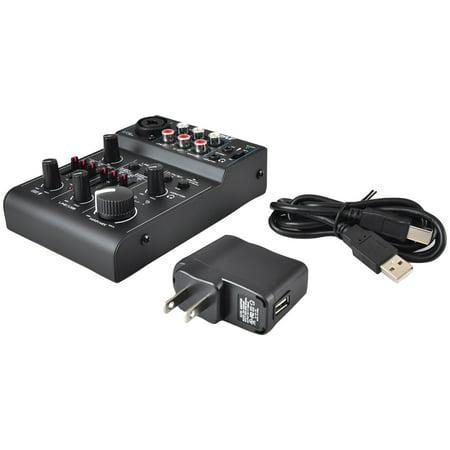 Phantom Power Mixers (Pyle Bluetooth 3-Channel Mixer DJ Controller Audio Interface, 18V Phantom Power Supply )